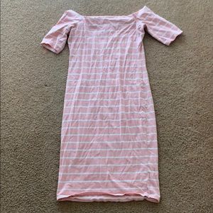 A pink and white striped dress